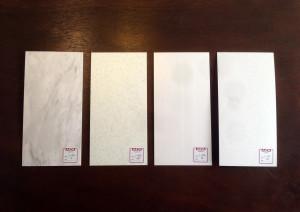 AICAメラミン化粧板の石目をサンプルで比較しました