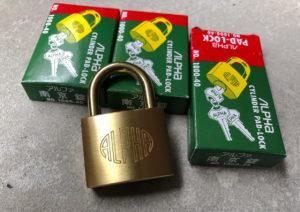 ALPHA(アルファ)の同一キー南京錠を買いました。